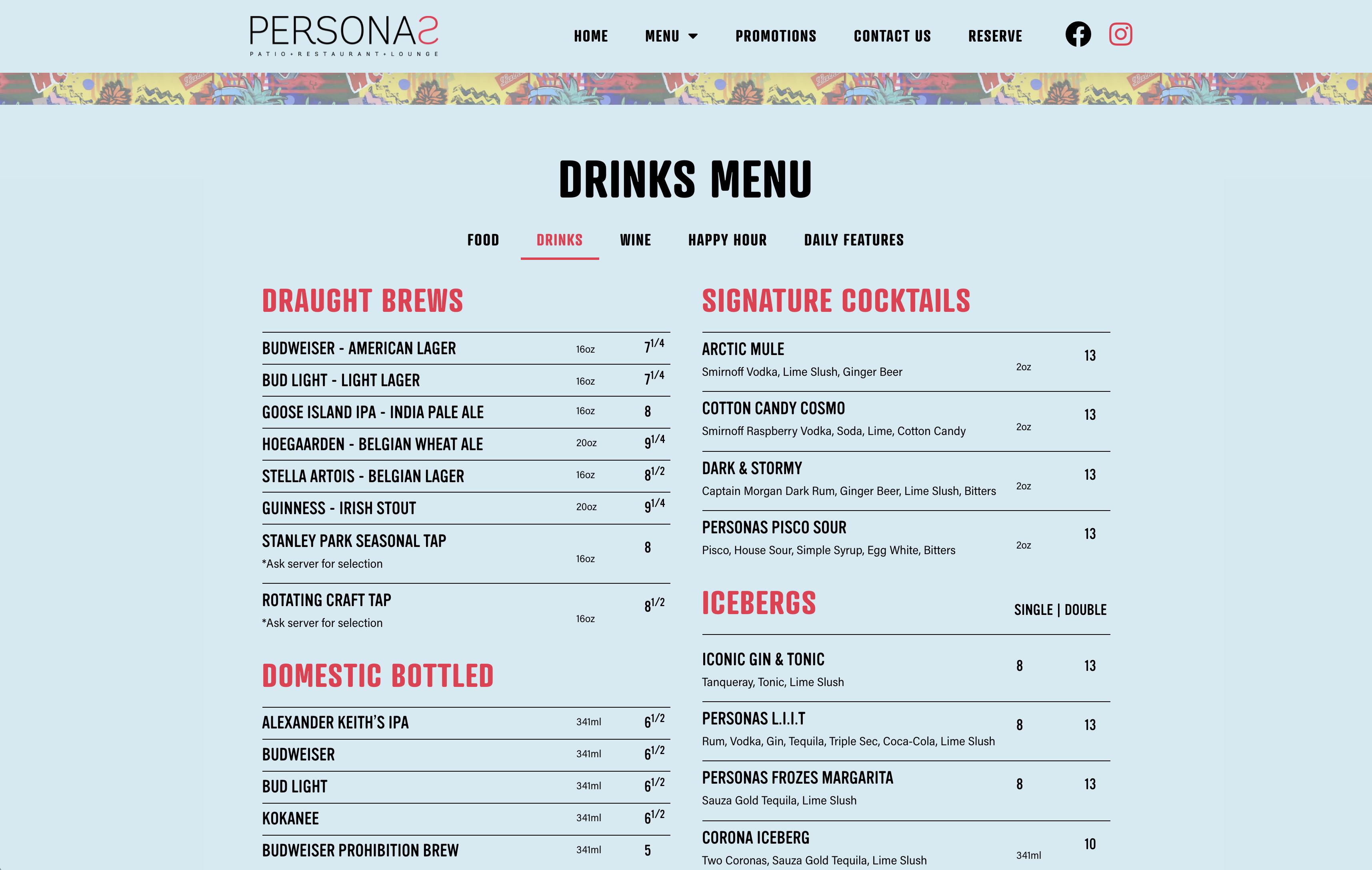 Personas Drinks Menu